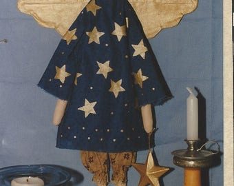 Sometimes Celestial 20 inch Primitive Angel Doll Pattern by Country Harvest UnCut Primitive Doll Patterns Rag Dolls