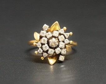22K Diamond Flower Ring Size 7 Fine Cocktail Diamond Ring