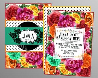 Vintage Wedding Invitations - Floral Retro - Wedding Invitation - Custom Printable