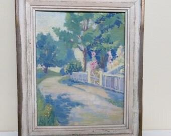 Vintage Antique Impressionist Oil Painting / Street and garden landscape / Fr 10x12 / 1910 to 1930