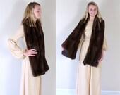vtg 50s Dark Brown MINK FUR pinup WRAP os chocolate madmen cocktail party jacket coat avant garde shawl