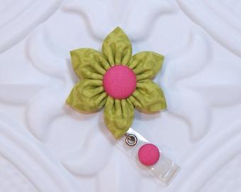 Retractable Badge Holder -  ID Badge Reel - Cute Badge Holder -  Flower Badge Holder