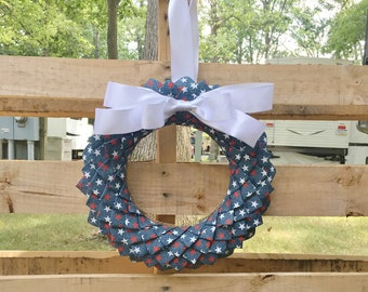 Fourth of July Ribbon Door Wreath, Stars and Stripes, Patriotic Decor, Blue Jeans, Denim Door Wreath, Housewarming Gift