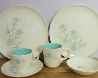 Vintage 1950's Taylor Smith and Taylor Boutonniere Ever Yours Aqua Blue Flower Dinnerware Set 18 pc