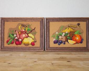 Vintage 1980's Framed Mini Kitchen Fruit Embroideries Sunset Designs