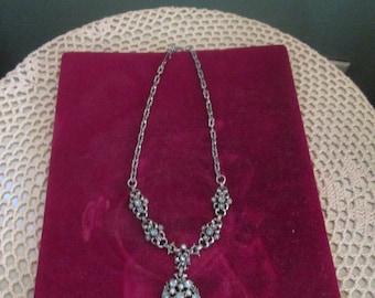 Vintage 1960s Blue Rhinestone  Pearl Pendant Necklace Delicate So Pretty