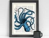 Summer Sale Turquoise Octopus Print,Dictionary art,wall art octopus decor, art print,Wall decor ctopus art,blue SEA061b