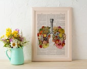 Spring Sale Flowery Lungs human Anatomy Print on dictionary. Anatomy art, love art, human science  anatomy art, wall decor BPSK062