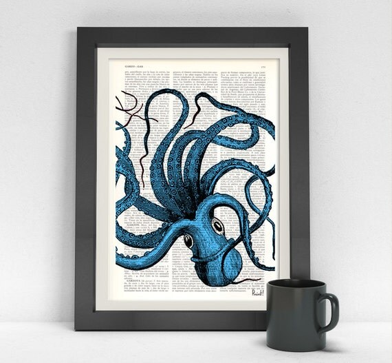 Summer Sale Turquoise Octopus Print,Dictionary art,wall art octopus decor, art print,Wall decor ctopus art,blue SEA061b