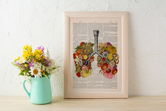 Spring Sale Flowery Lungs human Anatomy Print on dictionary page Anatomy love wall art, art, science and anatomy art BPSK062b