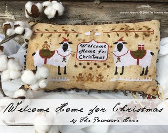 Welcome Home for Christmas cross stitch patterns by The Primitive Hare at cottageneedle.com sheep ewe Winter holidays pillow