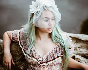 Bridal veil, boho bridal veil, flower crown, lily crown, aqua veil, vintage bride, ethereal, bohemian bridal veil