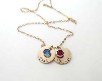 Personalized Necklace with Birthstones - Gold - Personalized Jewelry - Kids Name - Mothers Necklace - Grandma Necklace - Engraved
