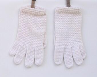Vintage Women's White Crochet Short Gloves Size Small