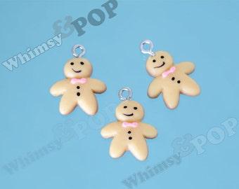 Resin Gingerbread Man Christmas Wintertime Charm, Gingerbread Charm, 21mm x 16mm (5-6D)