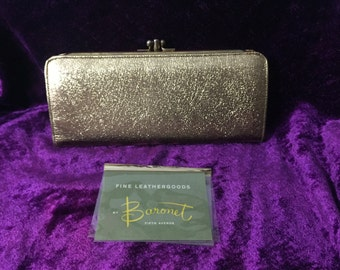 Fabulous Glamorous NEVER USED Shiny Sparkling Gold Metallic Vintage Ladies Wallet / Hand Clutch ~ By Baronet Fifth Avenueu Circa ~ 1960's