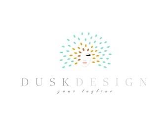 Watercolour Starburst Logo design, customizable Pre-made OOAK Blue, Orange