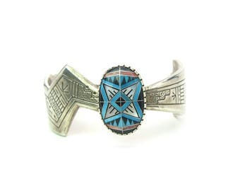 Native American Bracelet. Turquoise Morning Star Inlay. Sterling Silver Cuff. Signed Tenorio & Pollack Relios. Vintage Southwestern 55.2g