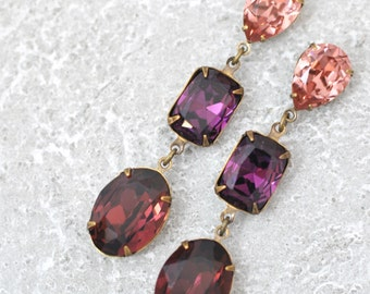 Holiday Earrings Burgundy Bordeaux Rhinestone Drop Earrings Swarovski Crystal Amestyst Blush Rose Fiesta Cocktail Party Earrings Christmas