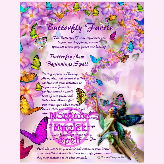 BUTTERFLY FAERIE Digital Download, , New Beginnings Spell, Faerie Spell,  Book of Shadows Page, Grimoire, Scrapbook, Magick Spells