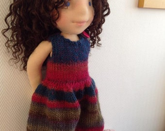 "Gorgeous knitted jumpsuit for 18"" Waldorf Doll"