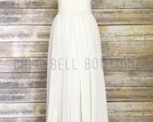 Sweetheart neckline Floor length flower girl dress- Ivory chiffon dress - Ivory chiffon flower girl dress - Toddler off white dress