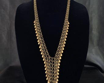 Statement chainmail necklace, antique brass tone fringe necklace