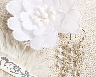 Swarovski crystal briolette drop cluster wedding bridal earrings