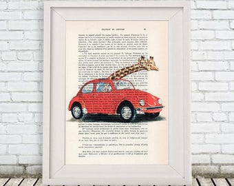Giraffes in car, giraffe Print, Giraffes in vw, Wall Art Prints, Giraffe Art Print, Giraffe Decor, Christmast Gift, Wall Hanging, volkswagen
