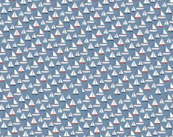 SALE Sea Boat Blue by Riley Blake, C5701 Blue, Sailboat Fabric on Blue Background, Sold in Half Yard Amounts