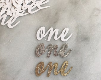 "ADD glitter cursive ""one"" 