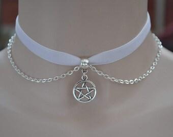 """PENTAGRAM Pentacle Charm With CHAIN WHITE 3/8"""" 10mm Velvet Ribbon Choker Necklace -lq.. 16 colours, handmade to order :)"""