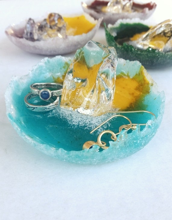 Turquoise Blue Glass Ring Dish