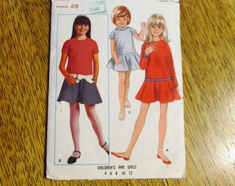 "MOD 1960s Girl's A Line Dropped Waist Mini Dress - Girl's Size 6 (Bust 25"") - VINTAGE Sewing Pattern Butterick 5161"