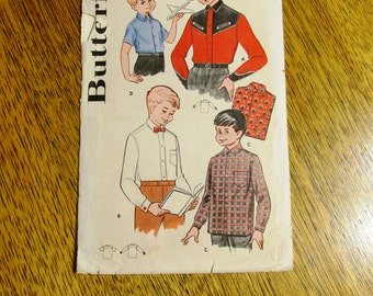 "Mid Century 1950s Children's Shirt WARDROBE - Formal Top / Cowboy Shirt - Size 2 - (Chest 21"") - VINTAGE Sewing Pattern Butterick 9092"