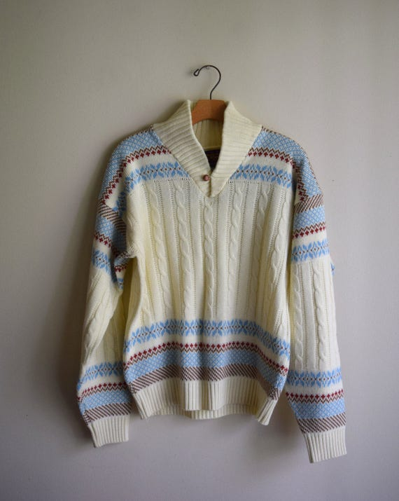 Vintage Cream Light Blue Ski Pullover Sweater - Men's Medium / Great Outdooors / Pacific NW / Urban