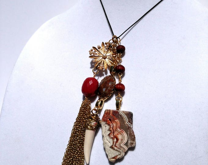 Gold Chain Tassel Necklace with Vintage Pendant, Sliced Agate and White Claw