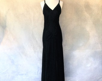 Antique 30s black velvet Old Hollywood bias cut evening dress - 1930s art deco floor length  mermaid draped formal dress - medium