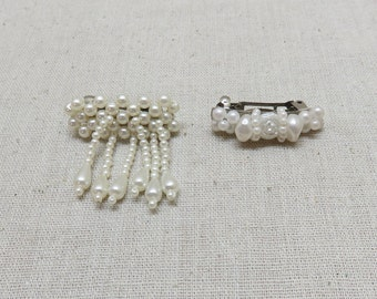 Oodles of White Pearls Vintage Hair Barrettes, Child Size