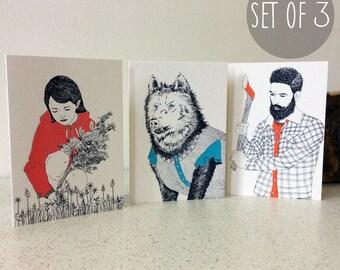 Little Red Riding Hood - Set of 3 - Greetings Card Handmade Screen Printed