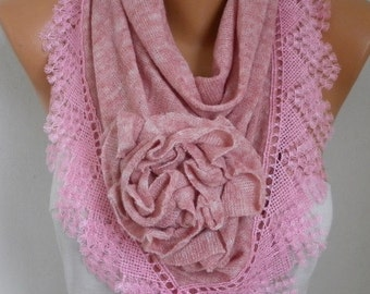 Dusty Pink Knitted Floral Scarf, Shawl Cowl Lace Bridesmaid Gift Bridal Accessories Gift Ideas For Her, Women Fashion Accessories