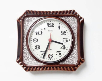 Vintage German Ceramic Wall Clock from Europa