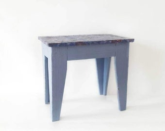 Vintage Blue Wooden Stool