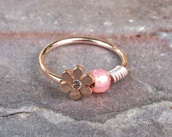Daisy 14kt Rose Gold Nose Hoop Silver Nose Ring 20 Gauge
