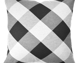 Black and Cream Gingham Pillow