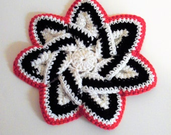 Star Flower Potholder - Black, White, and Red - 100% Cotton, Ecofriendly, Re-usable, Reversible