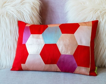 Red Hexagon Cushion, Geometric Metallic Cushion, Pink/Purple/Blue Gray Honeycomb Pattern Hexagonal Design, 12 x 18 Housewarming Gift Present
