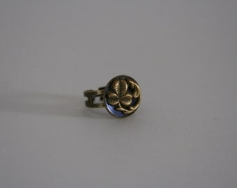 Clover Ring Brass Blue Vintage Statement Buttons - made with a vintage button