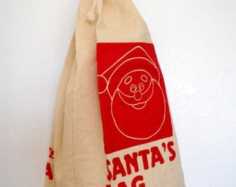 Christmas in July Vintage Canvas Bag Bon Marche Santa Gift Wrap Cool Retro Large Present Package Red Cream
