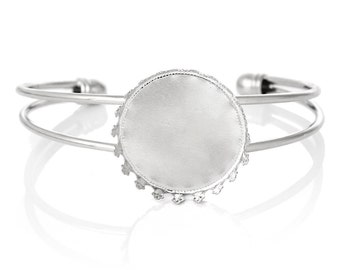 1 OPEN BANGLE CUFF Wire Bracelet, fits 25mm Round Cabochon, Bezel Tray, silver tone metal, for Cabochon Setting, fin0649